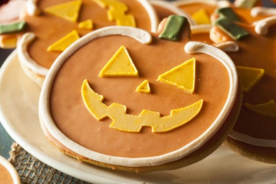 32306096 - homemade jack o'lantern pumpkin cookie for halloween