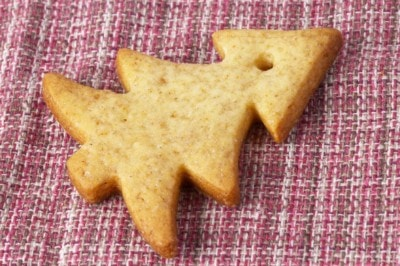 6199487 - christmas ginger butter cookie over checked cloth
