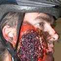 homemade halloween cyclist accident face costume