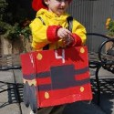 homemade halloween fireman with firetruck costume