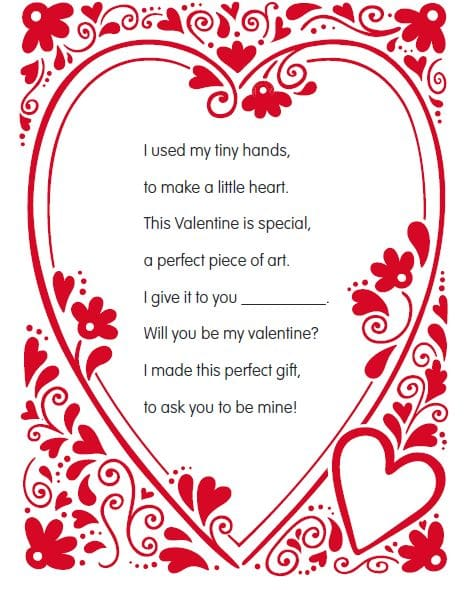 valentine handprint poems