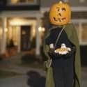 homemade halloween pumpkin head costume - I don't advise using a real pumpkin